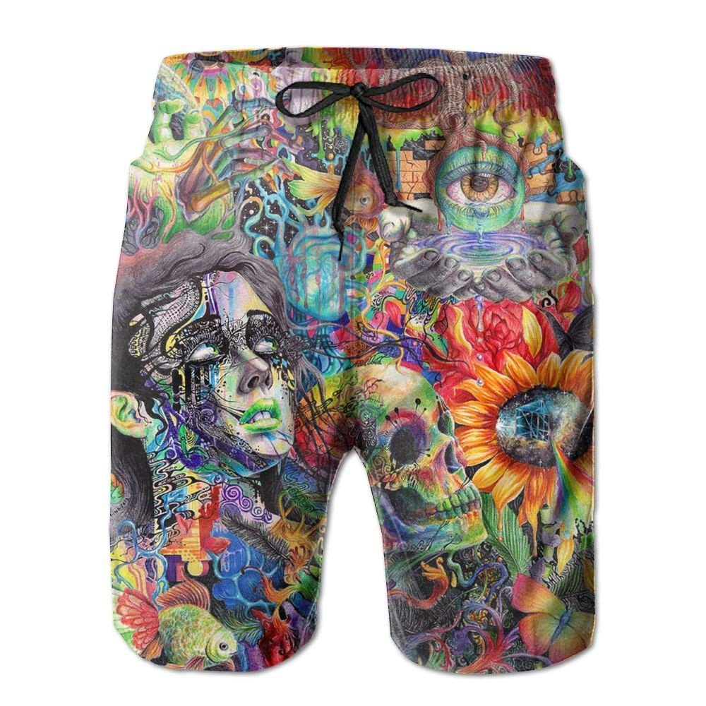 ruelen2 Mens Horrible Psychedelic Trippy Art Summer Quick Dry Beach Pants AQMYI9JQPGQ6B5F1OOH9