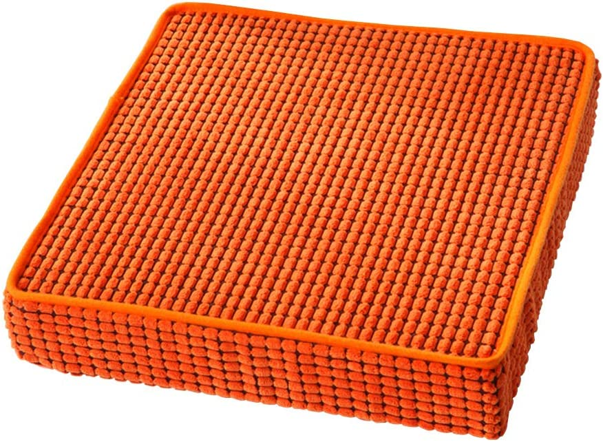 """HyFanStr Memory Foam Seat Cushion Pad, Non-Slip Chair Cushions for Kitchen Dining Chair Pads, Square Seat Pads Indoor Outdoor Cushion Pillow for Home Office Orange 18"""" x 18"""""""
