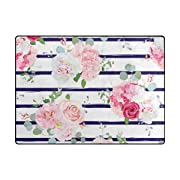 My Little Nest Area Rug Pink Rose Peony Navy Blue Lightweight Non-Slip Soft Mat 4' x 5'3 , Memory Sponge Indoor Outdoor Decor Carpet For Living Dining Room Bedroom Office Kitchen