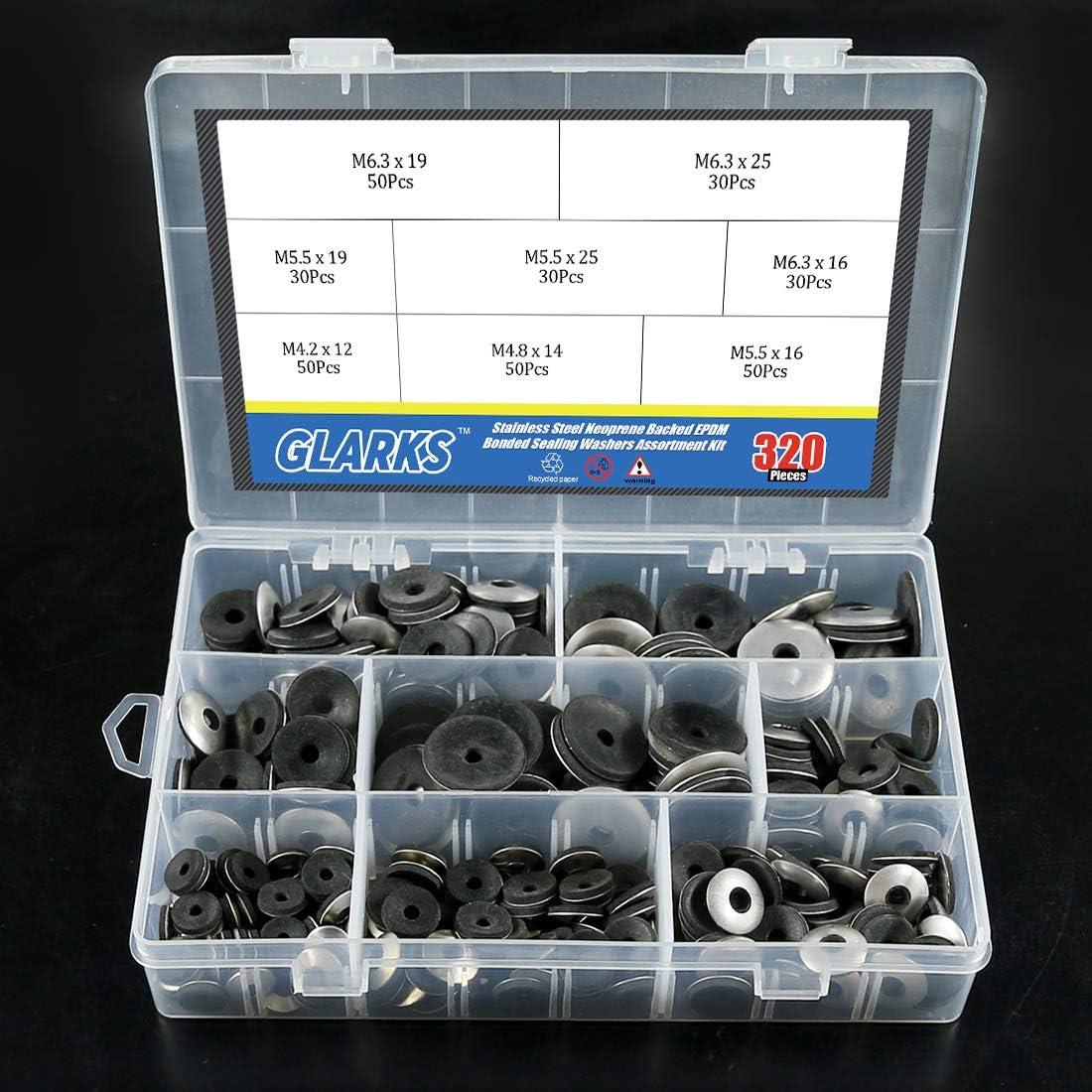 glarks 320pcs Edelstahl Neopren R/ückseite EPDM Bonded Dichtscheiben Sortiment Kit Arbeit f/ür # 4//# 5//# 6/Schrauben
