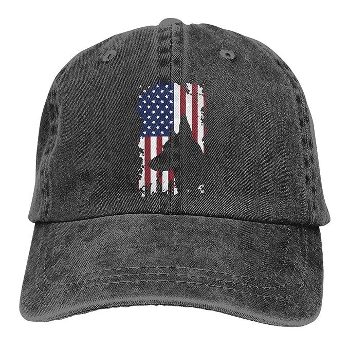 1a7f4afe4b2 Men s Women s Vintage Jeans Baseball Hat Adjustable Strap Low Profile  German Shepherd American Flag Ball