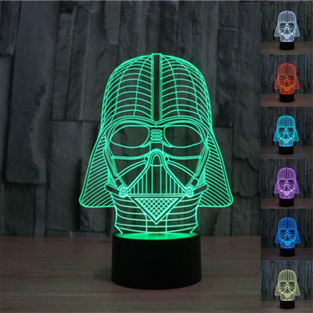 SmartEra® 3D Star Wars Darth Vader Model 7 Color Change Fantastic USB Touch Button LED Desk Table Light Lamp