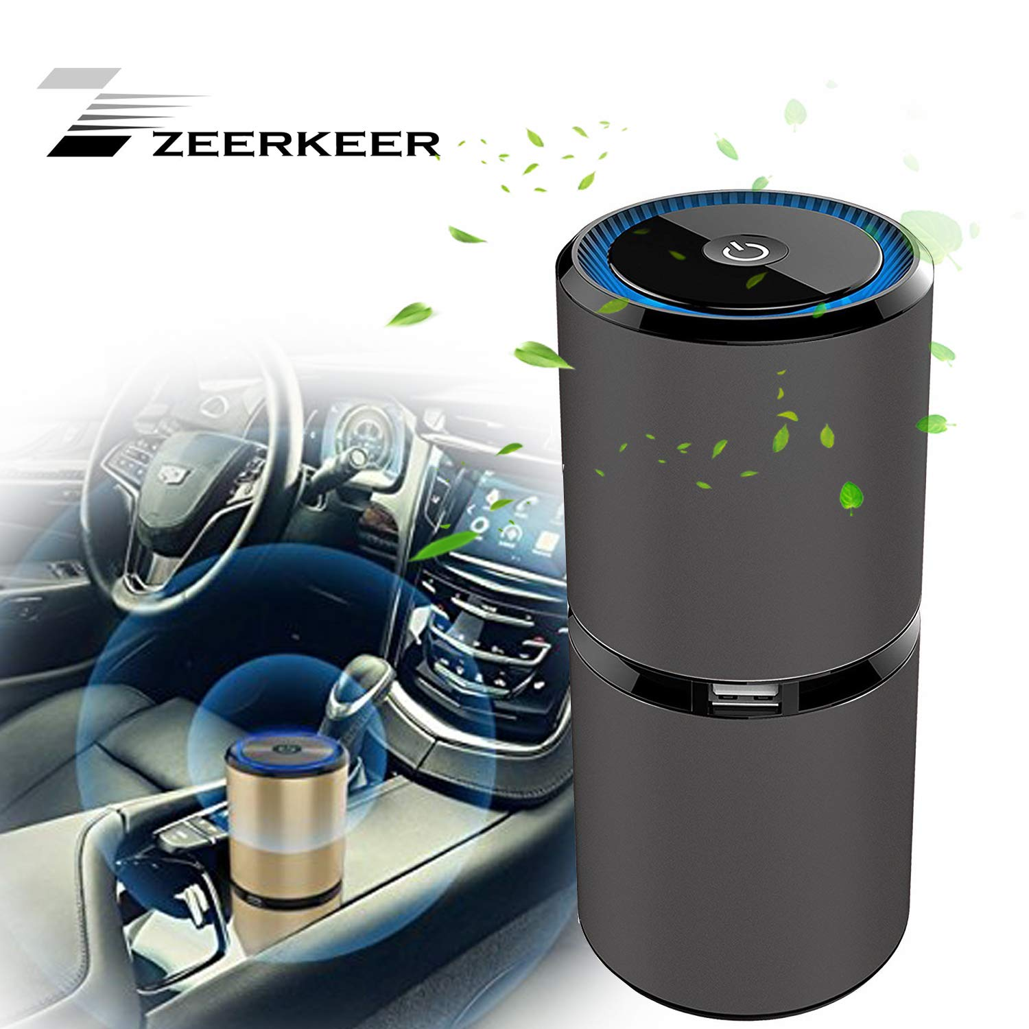 Car Ionizer Air Purifier, Removes Dust, Cigarette Smoke, Bad Odors,DUAL USB CHARGING PORTS (black)