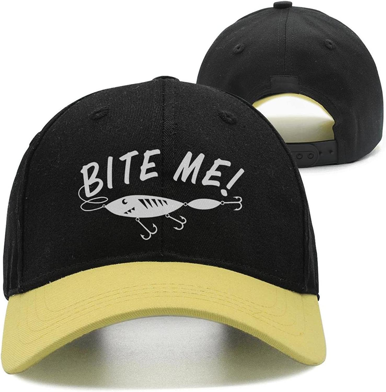 SJSNBZ Bite Me Fish Hook Graphic Funny Womens,Mens Hip-hop Hat