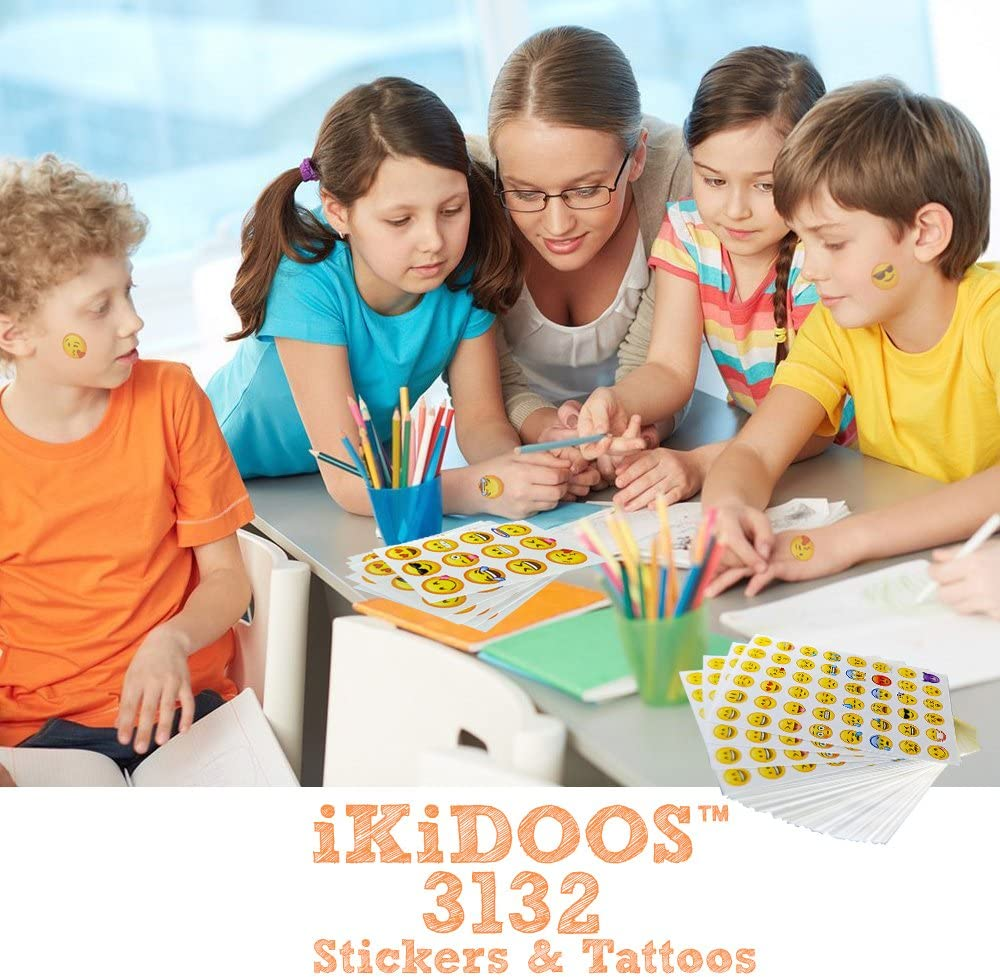 Most Popular Emoji Party Favors for Kids iKidoos® iKidoos 3132 Emoji Stickers /& Emoji Tattoos
