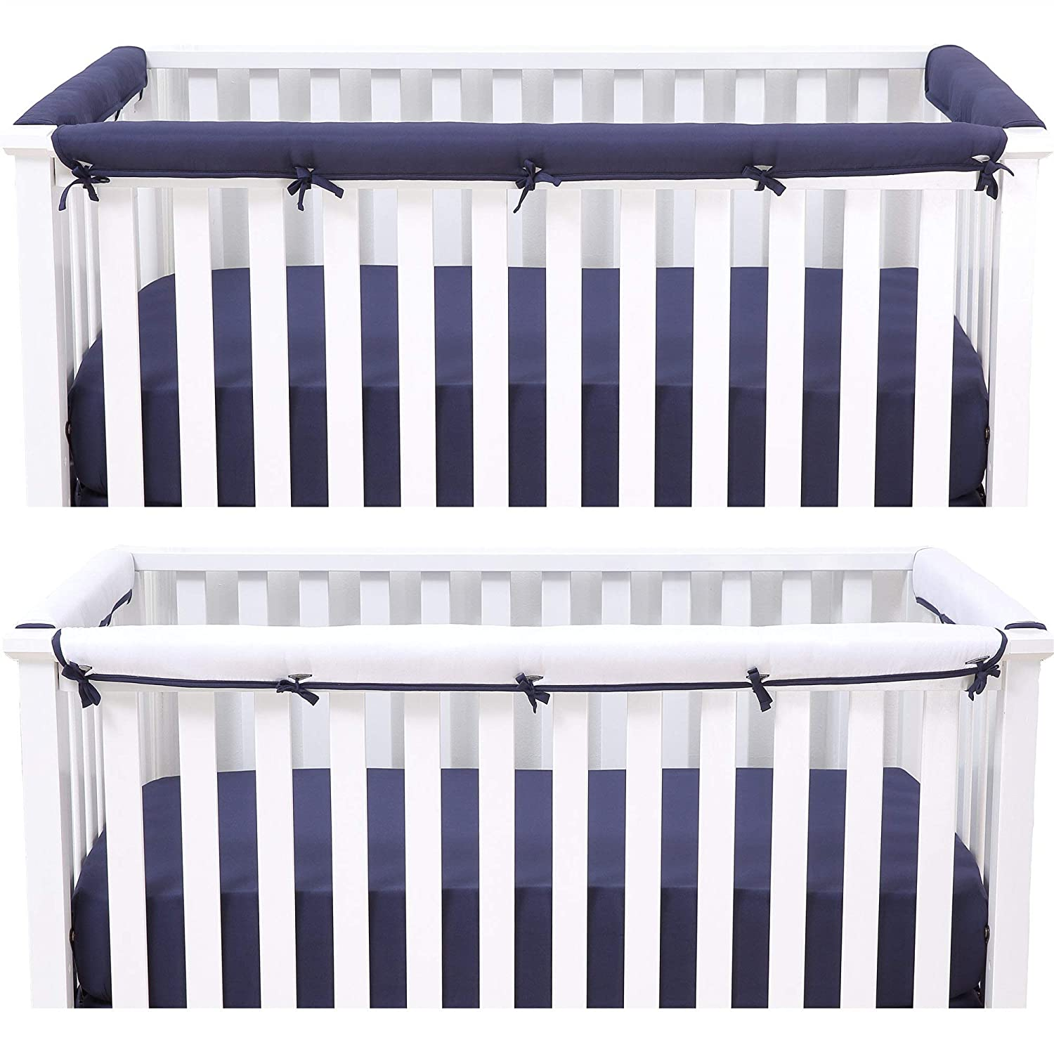 Belsden Baby Safe 3 Pack Crib Rail Cover Set For 1 Long And 2 Side Rails Reversible Breathable Padded Crib Teething Guard And Protector For Boys Measuring Up To 8 Inches Around Navy And White Color Baby Amazon Com
