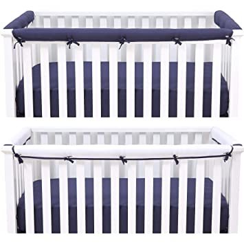 Amazon Com Belsden Baby Safe 3 Pack Crib Rail Cover Set For 1 Long And 2 Side Rails Reversible Breathable Padded Crib Teething Guard And Protector For Boys Measuring Up To 8