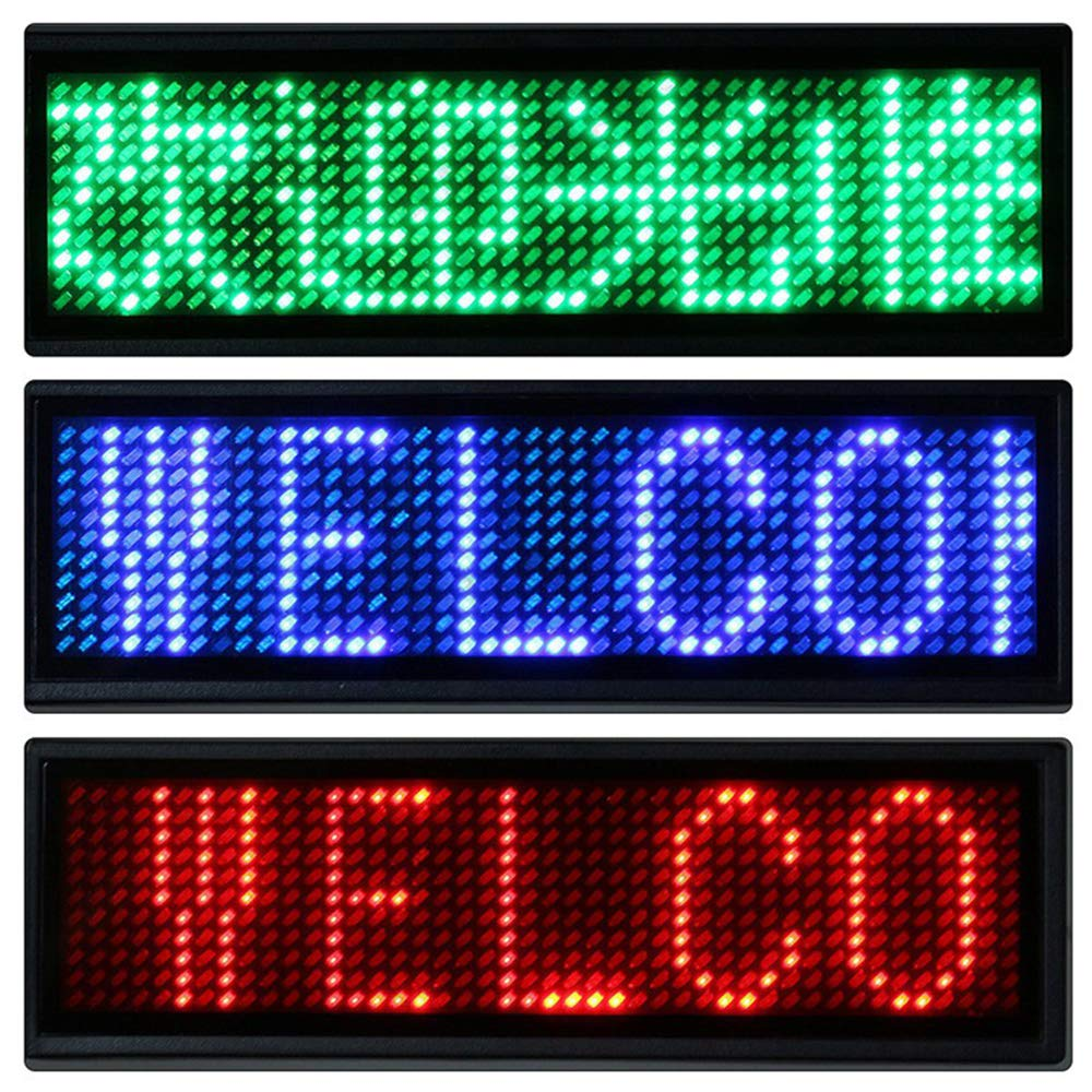HUANSI Messaggio Scorrevole Display Nome Badge programmabile Scorrevole targhetta Nome Badge Display Ricaricabile