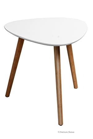 Delightful Retro Mid Century Modern Danish Style White Wood Triangle Accent Side Table
