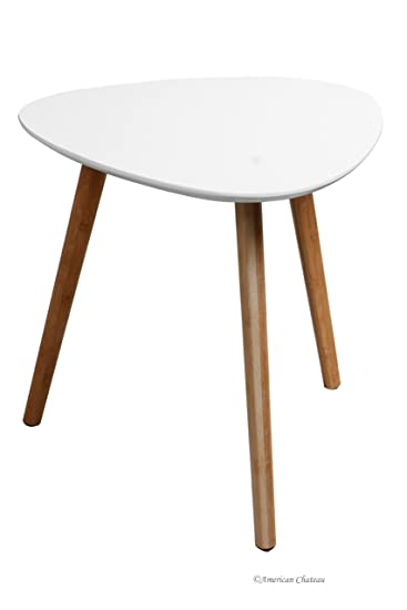 Charming Retro Mid Century Modern Danish Style White Wood Triangle Accent Side Table