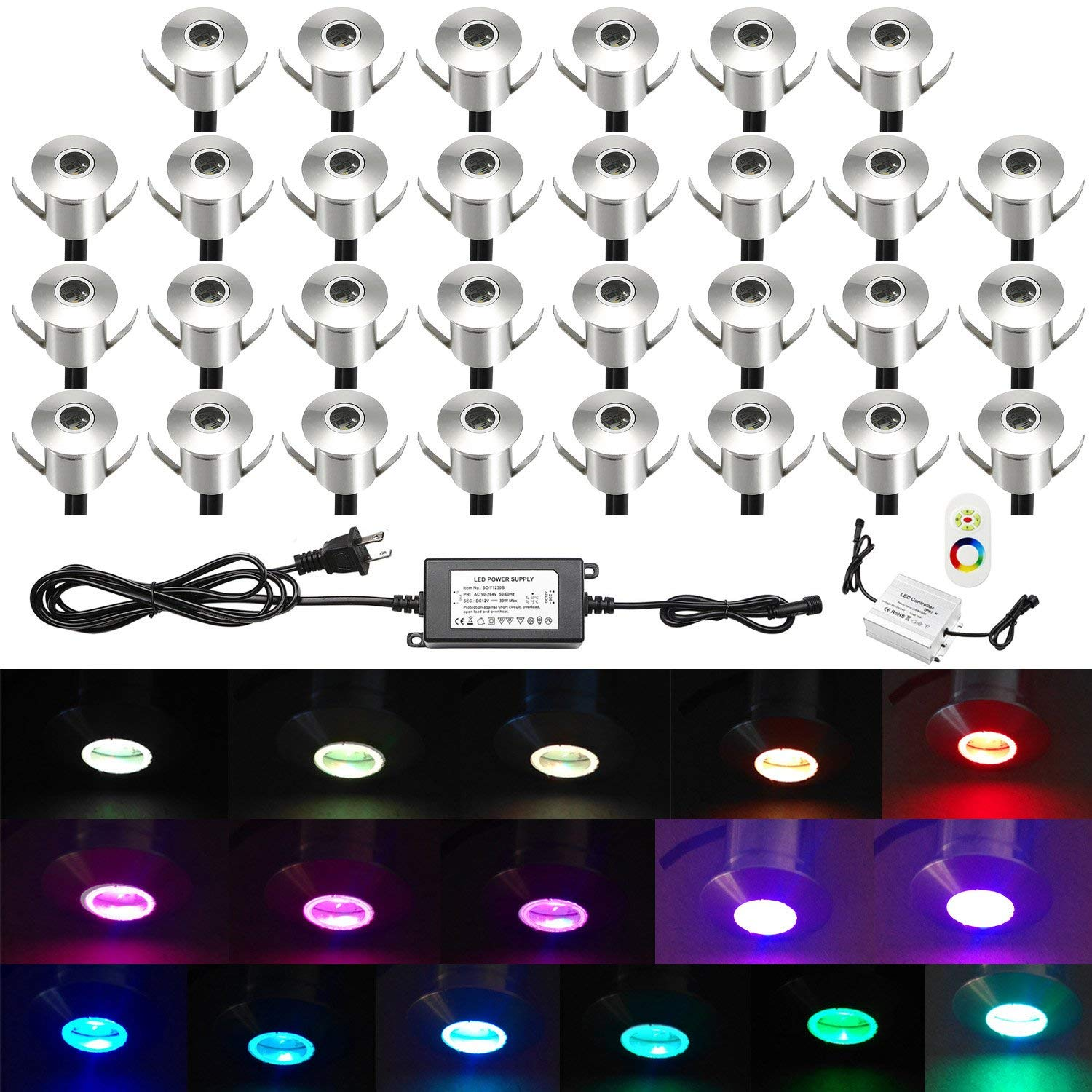 Low Voltage Stair Lights Outdoor, QACA Deck Lighting Kits Waterproof IP67 In-Ground Lights for Steps Stair Patio Floor Pool Deck Kitchen Outdoor Led Landscape Lighting (30Pcs,RGB)