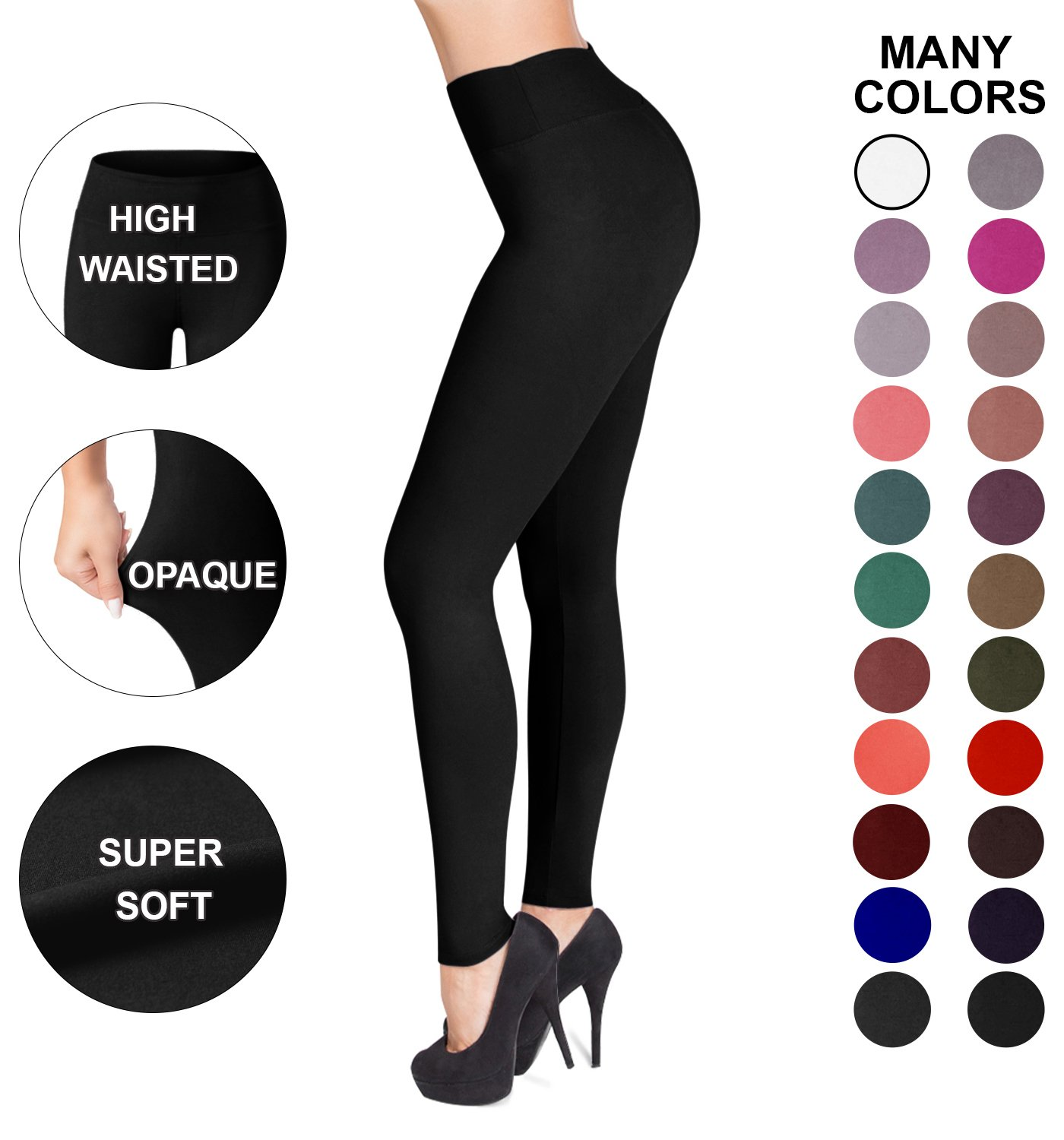 SATINA High Waisted Leggings – 22 Colors – Super Soft Full Length Opaque Slim (Plus Size, Black)