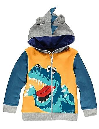 Garsumiss Sudadera con Capucha para Niños Lindo Dibujo Animal Dinosaurios Encapuchado Abrigos (2 Años,