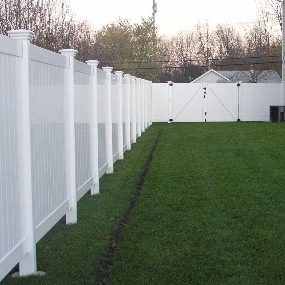 Savannah 4 ft. H x 8 ft. W White Vinyl Privacy Fence Panel