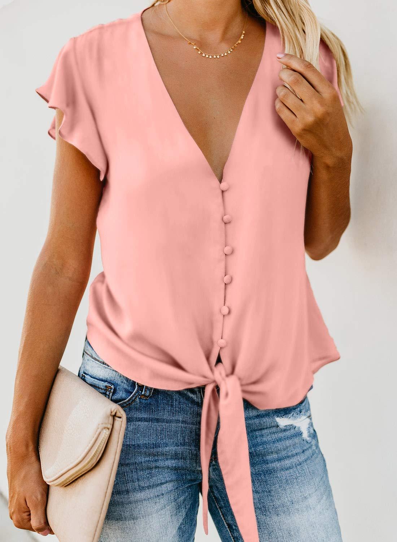 Asvivid kvinnor djup v-ringad knapp keps ärm slips knut avslappnad mode flödande blus skjorta toppar sommar 2020 1-pink