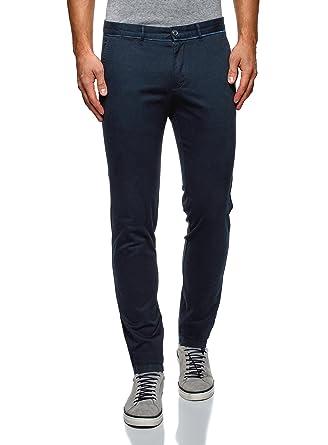 oodji Ultra Hombre Pantalones Chinos con Peque/ño Estampado Gr/áfico