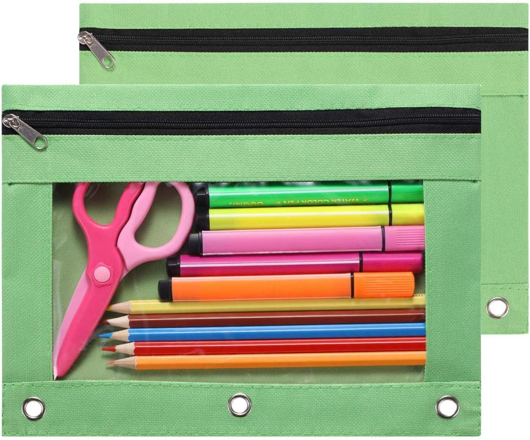 FJCA 3 Ring Pencil Pouches Zipper Binder Pouches Stationery Case for School Office Home 3Packs Black