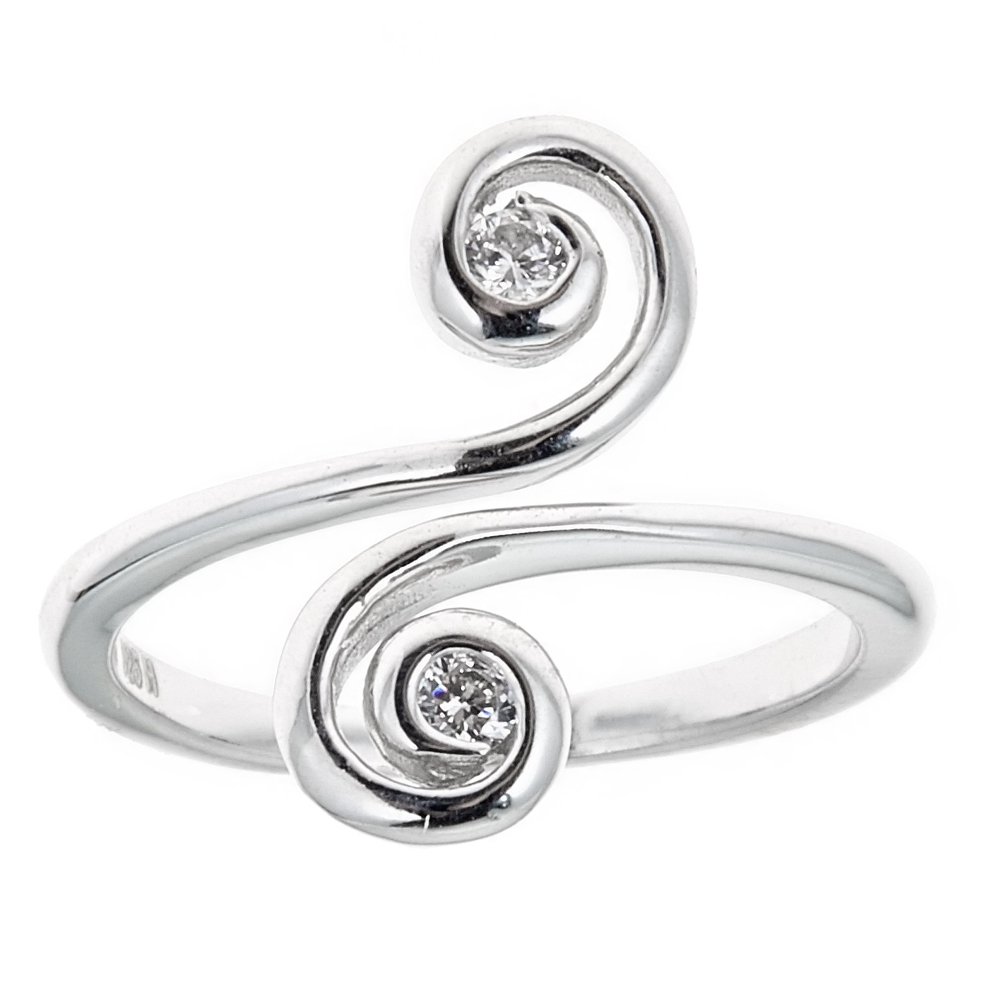 Sterling Silver Swirl Cubic Zirconia Crossover Ring or Toe Ring