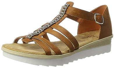 Rieker Damen 63128 Offene Sandalen mit Keilabsatz