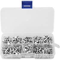 Massieve aluminium klinknagels, 400 stuks M3 platte kop aluminium klinknagels platte kop vaste klinknagels 4 mm - 16 mm…