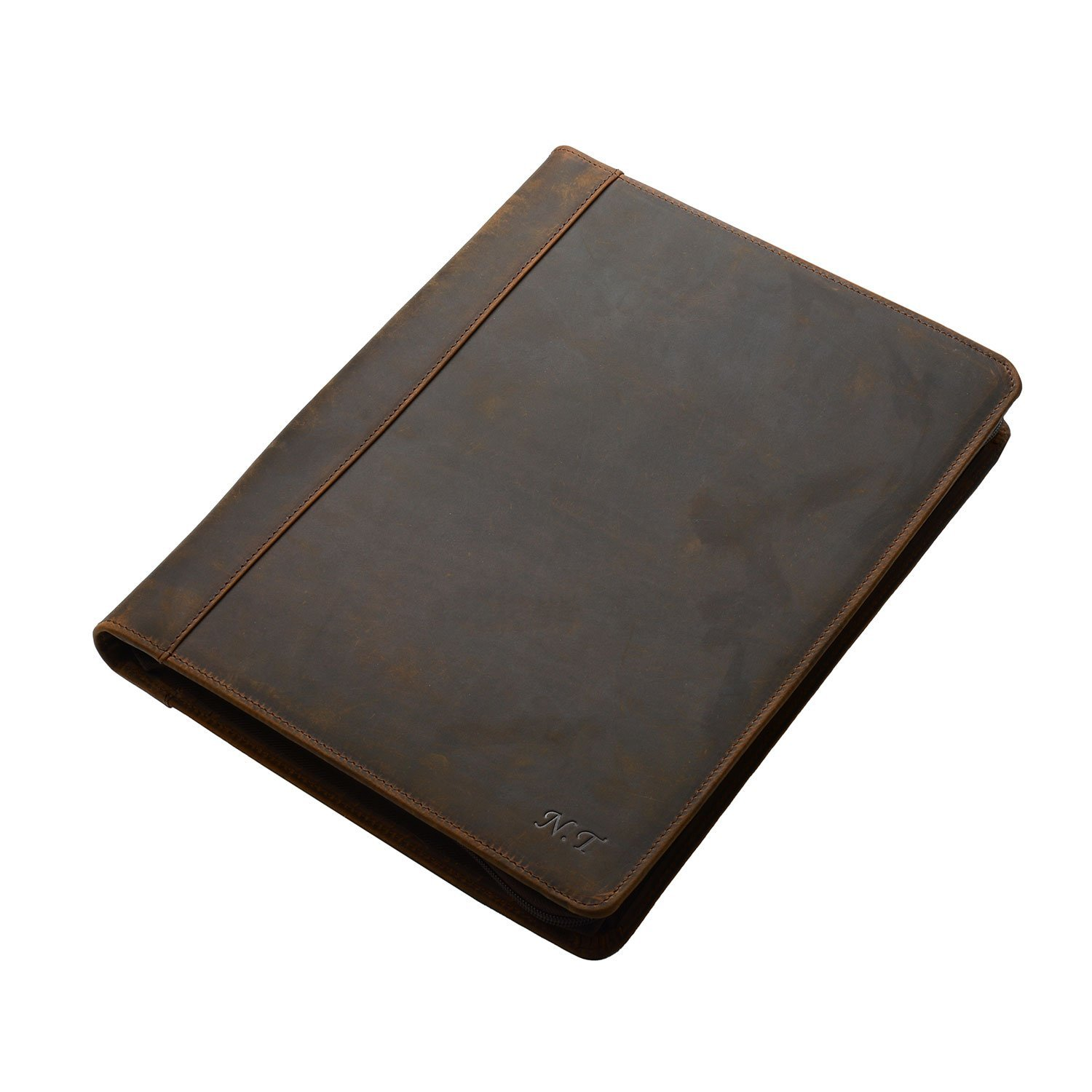 Personalize Rustic Leather Organizer Laptop Portfolio with Notepad Holder for 13 inch Surface Book/MacBook Air, Brown