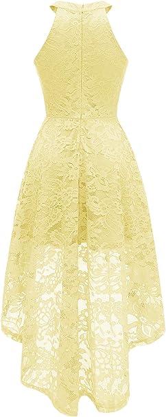 Women's Halter Floral Lace Cocktail Party Dress Hi-Lo Bridesmaid Dress