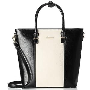 Mary Point Amelia White Black Pleather Handbag