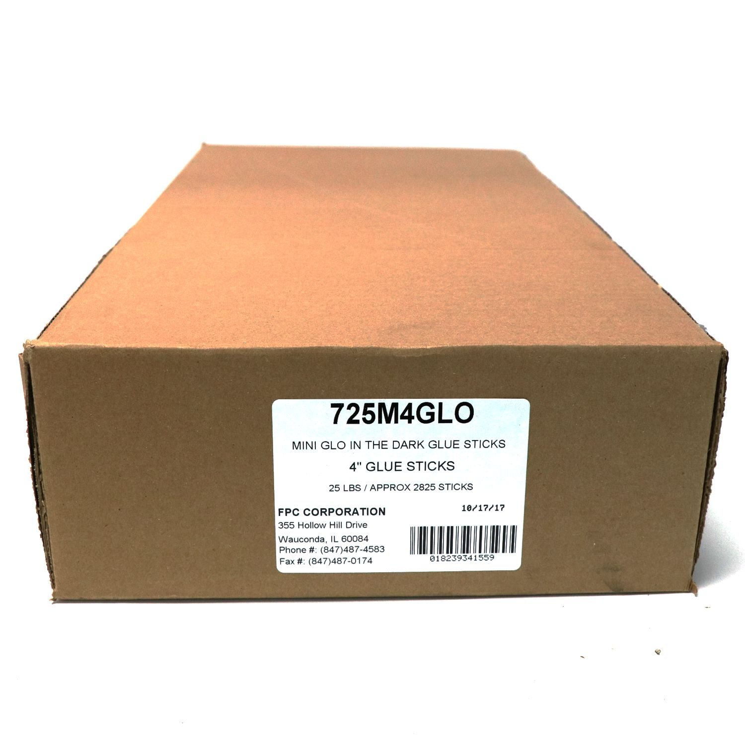725M4GGLO Mini Size 4'' Glow in the Dark Hot Glue Stick - 25 lb Box