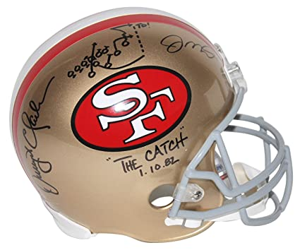 bd13a98f199 Amazon.com  Joe Montana   Dwight Clark Signed F S Rep Helmet W Hand ...