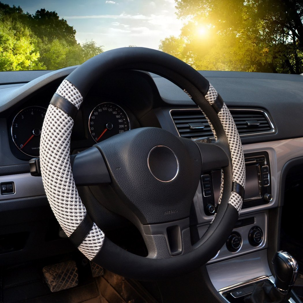 Altopcar Microfiber Leather Auto Car Steering Wheel Cover Universal 15.35-15.74 L, Gray