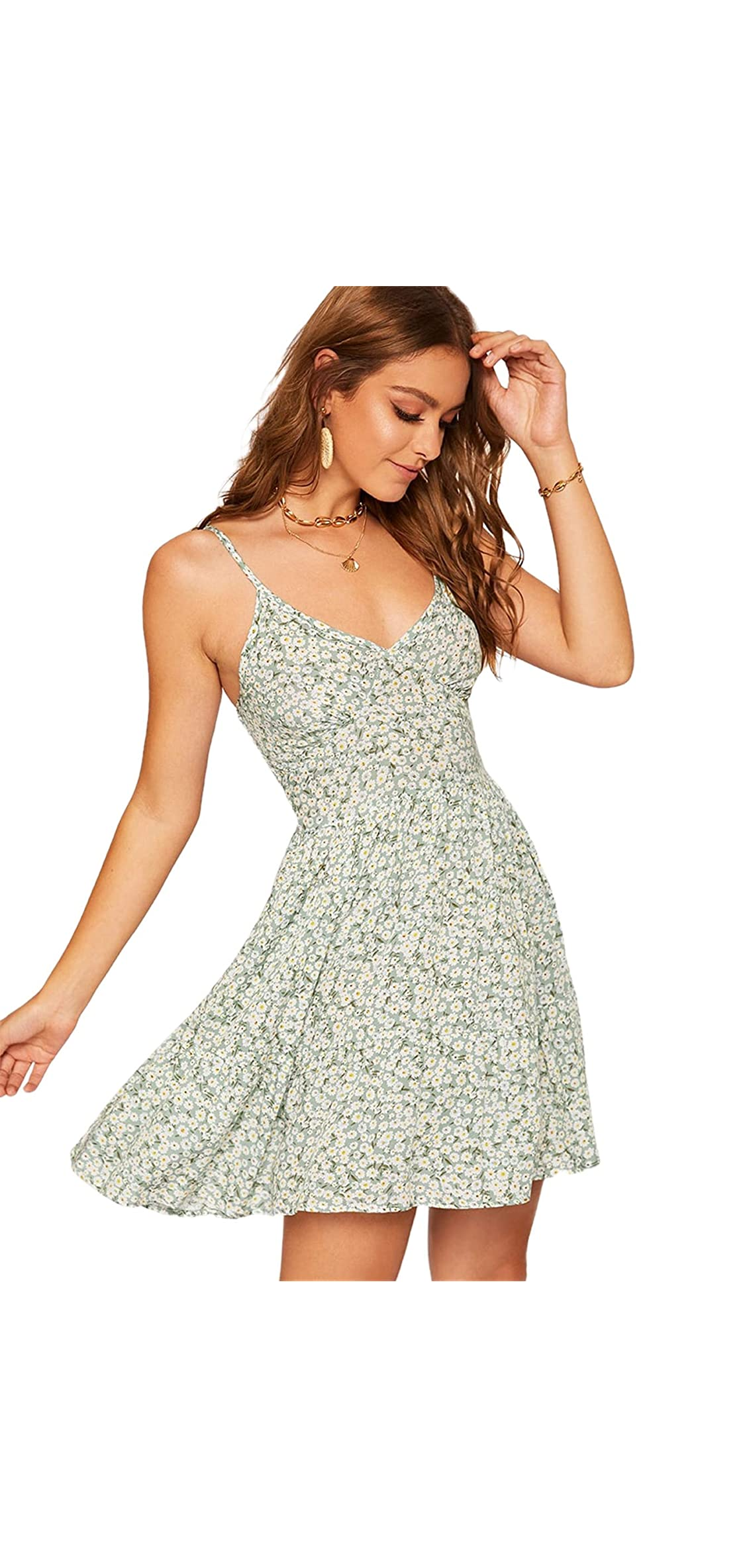 Women's High Waist Fit And Flare Vneck Floral Cami Dress