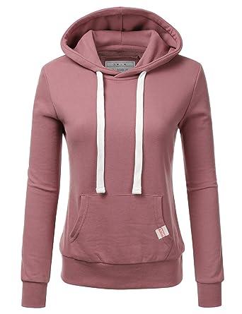 e9d8263d36b3 Doublju Basic Lightweight Pullover Hoodie Sweatshirt for Women BEGONIAPINK  Small