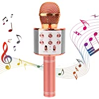 Microfono Inalámbrico Karaoke Bluetooth, Micrófono Karaoke Bluetooth Portátil con Altavoz y LED, Compatible con Android…