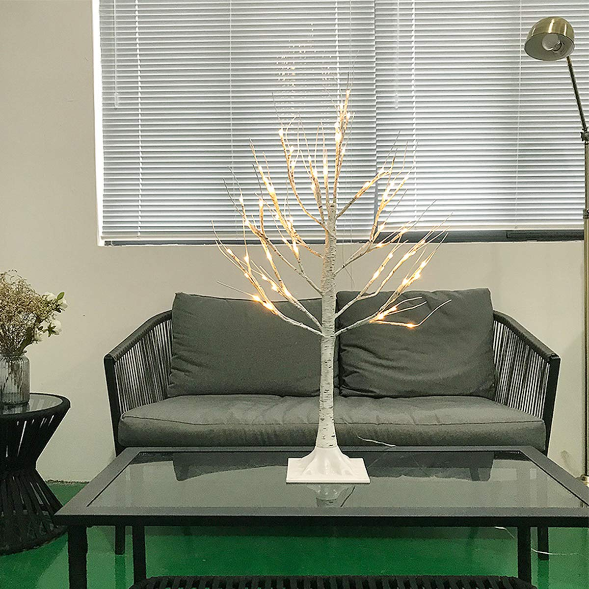 1PC 90CM 60 LEDs USB Interface Warm White Flexible Birch Tree Lights for Party Home Wedding Decoration Festival