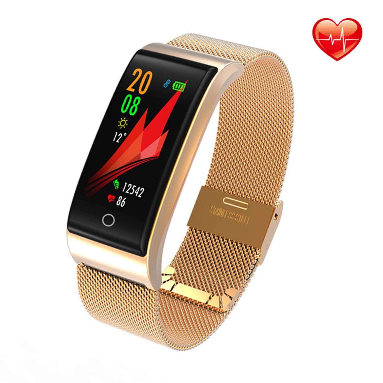 ISWIM Pulsera Actividad, Pulsera Inteligente con Pulsómetro Pulsera Deportiva y Monitor de Ritmo Cardíaco Monitor de Actividad(Metal Amarillo)