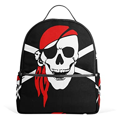 2c3ef3162b9e Image Unavailable. Image not available for. Color  School Backpack Pirate Skull  Students ...