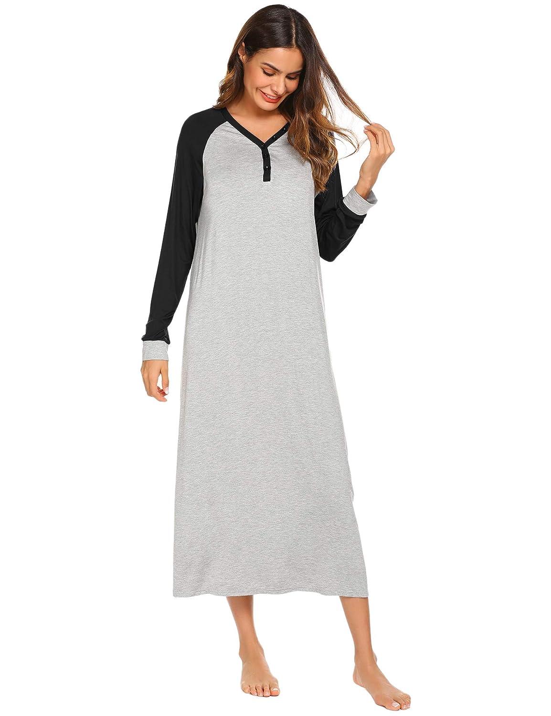 Ekouaer Sleep Shirt Women\'s Long Sleeve Sleepwear V Neck Night Dress Nightgown Loungewear EKK009726#