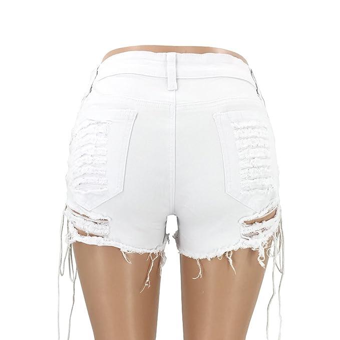 5da78403ba1653 Elonglin Shorts Femme Coton Jean Court Sexy été Taille Haut Bandage Vintage  Club Stretch Retro Trou Frange Pantalon déchiré Short Bermudas Denim ...