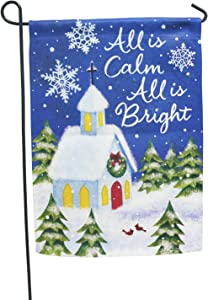 LAYOER Winter Happy New Year Garden Flag 12.5 x 18 Inch Double Sided Snow Snowflake House Home Tree