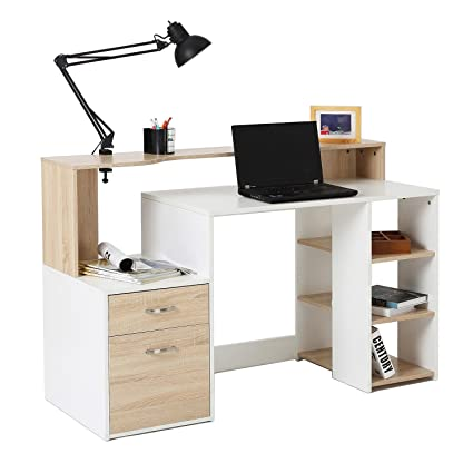 Genial HomCom 55u0026quot; Multi Level Modern Design Home Office Desk With Shelves And  Drawers