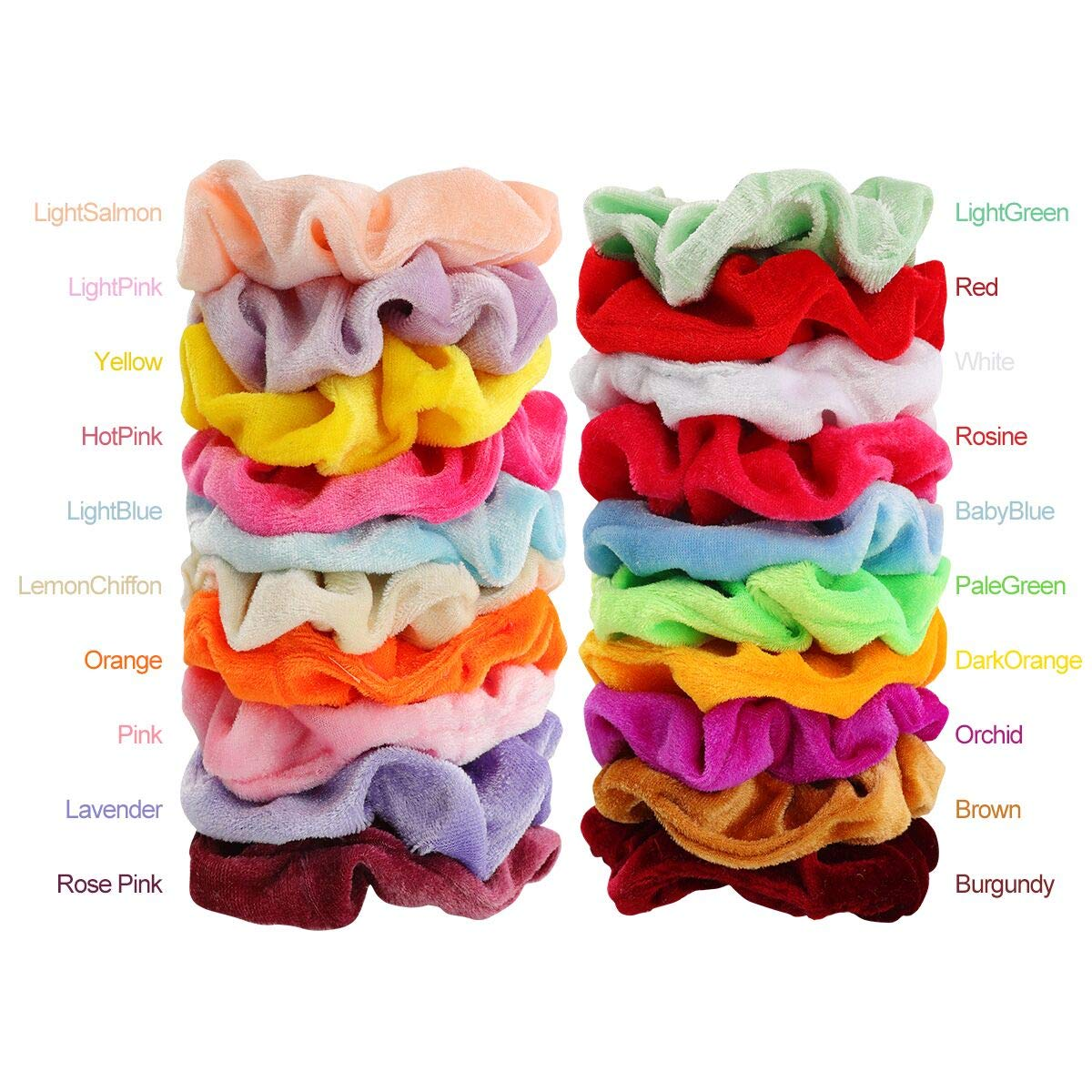 Mandydov 40pcs Hair Scrunchies Velvet Elastic Hair Bands Scrunchy Hair Ties Ropes 40 Pack Scrunchies for Women or Girls Hair Accessories - 40 Assorted Colors Scrunchies by Mandydov (Image #4)
