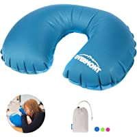 Overmont Inflatable Soft Pillow Ergonomic & Portable with Carry Bag for Travel Plane Car Train Camping Beach Office