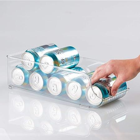 mDesign Juego de 2 cajas de almacenaje para nevera y congelador - Envases de plástico para alimentos - Prácticos contenedores de plástico para 9 latas ...