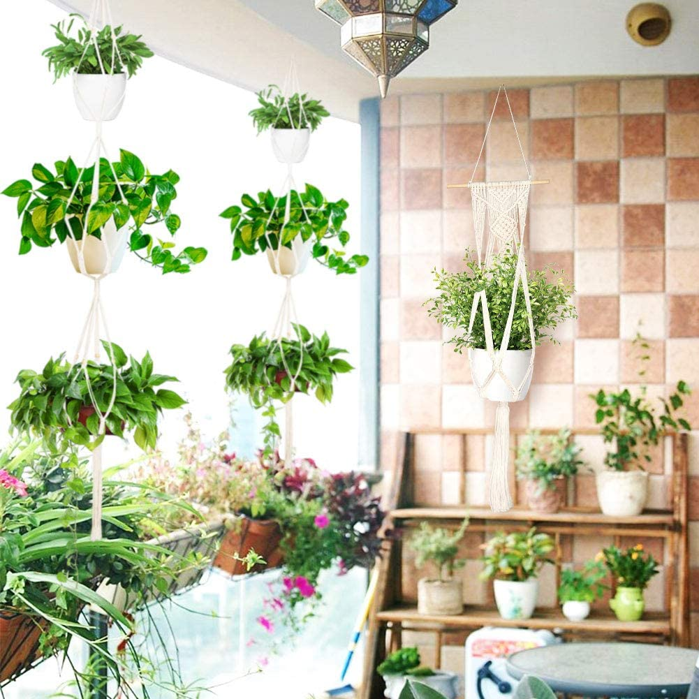 pot de fleurs /à suspendre en macram/é pour plafond corde de coton OurWarm Lot de 5 suspensions murales en macram/é pour plantes dint/érieur avec 5 crochets de suspension ext/érieur jardin d/écoration