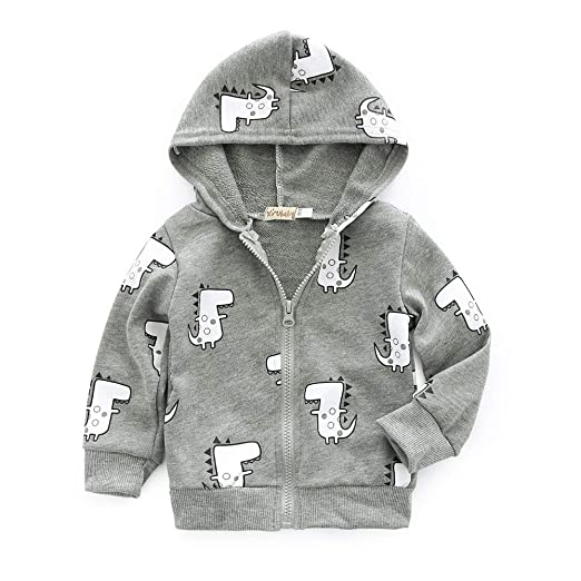 10af45616 Amazon.com  New Cute Baby Boys Girls Cartoon Dinosaur Zip Jacket ...