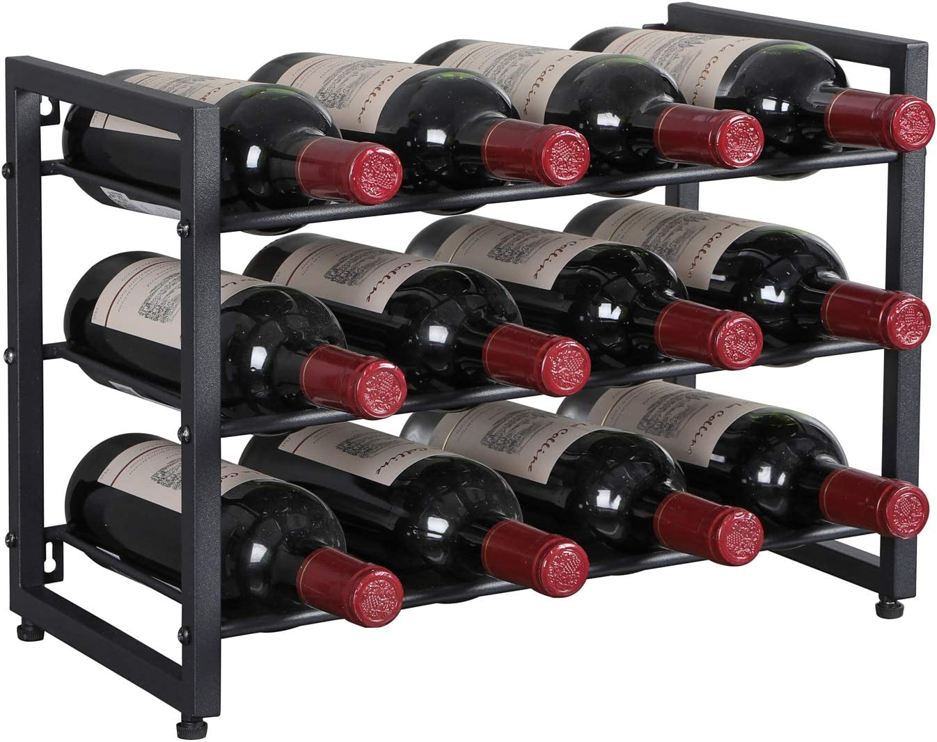 Oropy 12 Bottle Metal Wine Rack Free Standing Wine Storage Holder 3 Tier Industrial Style Vintage Home Decorations For Cabinet Cupboard Countertop Black Amazon Co Uk Kitchen Home