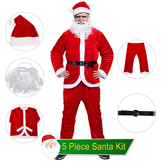 BESAZW Santa Claus Costume Santa Suit Adult Men with Beard Complete Christmas Santa Claus Cosplay Suit Outfit Regular Size