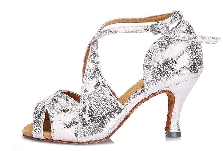 Frauen Sexy Salsa Jazz Dance Schuhe Ballsaal Latin Tango Party Tanzschuhe High Heels Silberheeled7.5CM-UK5.5   EU38   Our39 (Farbe   Silberheeled6cm Größe   UK5.5 EU38 Our39)