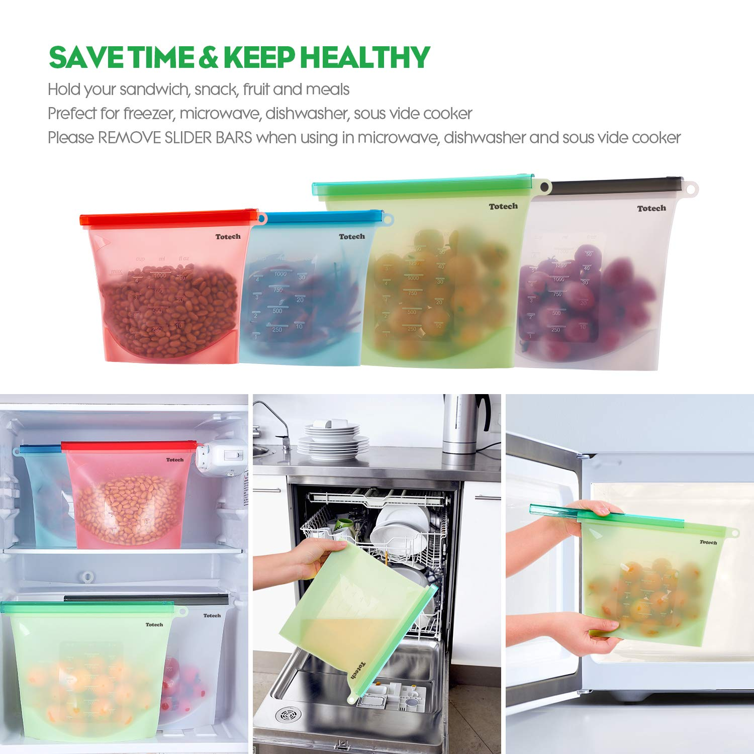 Reusable Silicone Food Storage Bags, 4 Pack Airtight BPA Free Snack Bags (2 Large & 2 Medium + Bonus Silicone Collapsible Straws & Produce Storage Bags) Baggies for Cooking, Sous Vide, Sandwich, Meat