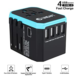 International USB Travel Power Adapter - UNIDAPT All in One Universal Wall Charger Plug Adapter for US USA EU UK AUS Asia with 4-USB 5.6A+ Type C Smart Charging Port (Blue)